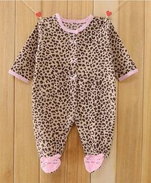 Dazzling Dolls Animal Print Footed Fleece Winter Baby Romper - Brown