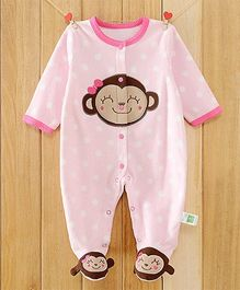 Dazzling Dolls Polka Dotted Footed Fleece Winter Romper With Cartoon Applique - Pink