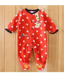 Dazzling Dolls Polka Dotted Footed Fleece Winter Romper With Cartoon Applique - Red