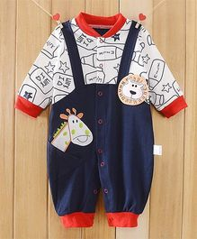 Dazzling Dolls Smart Baby Winter Romper With Cartoon Appliques - Blue