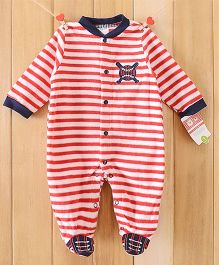 Dazzling Dolls Striped Red Footed Fleece Winter Romper - Red