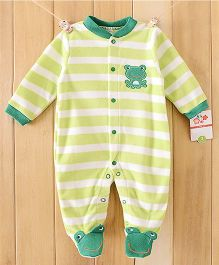 Dazzling Dolls Striped Footed Fleece Winter Romper With Cartoon Applique - Green