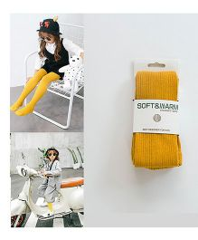 Dazzling Dolls Waist High Self Design Solid Stockings - Yellow