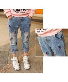 Dazzling Dolls Embroidered Cherry Jeans With Elastic Waist - Blue