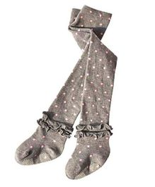Dazzling Dolls High Waist Ruffled Ankle Stockings With Polka Dots - Grey