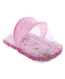 Mee Mee Mattress Set With Mosquito Net Animal Print - Pink