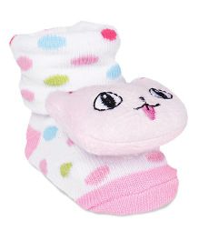 Cute Walk by Babyhug Sock Shoes With Cat Motif - Pink & White