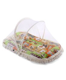 Mee Mee Mattress With Pillow And Mosquito Net Vehicle Print - White