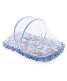 Mee Mee Mattress With Mosquito Net Monkey Print - Blue