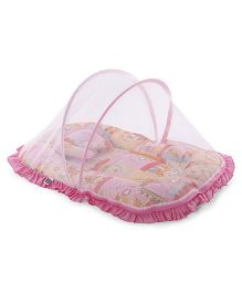 Mee Mee Mattress Set With Mosquito Net Train Print - Pink