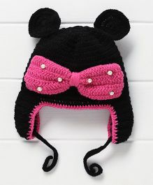 Nappy Monster Bow & Pearls Cap - Pink & Black