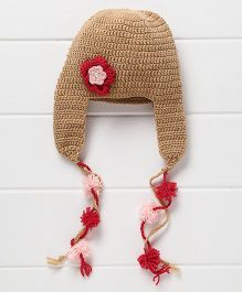 Nappy Monster Cap With Hanging Pom Pom - Beige