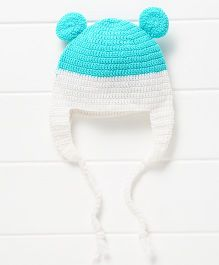 Nappy Monster Cap With Ear - Blue & White