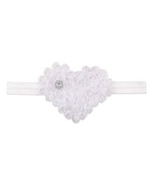 Aadhya Heart With Roses Headband - White