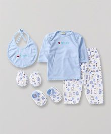 Babyhug Baby Clothing Gift Set Embroidered Blue - Pack of 5