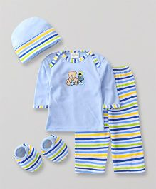 Babyhug Baby Clothing Gift Set Bear Embroidery Blue - Pack of 4