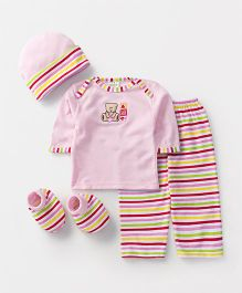 Babyhug Baby Clothing Gift Set Bear Embroidery Pink - Pack of 4
