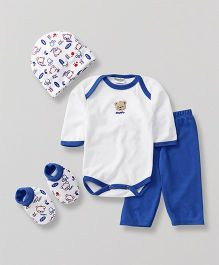 Babyhug Baby Clothing Gift Set Bear Print Blue - Pack of 4
