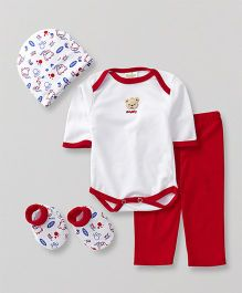 Babyhug Baby Clothing Gift Set Bear Print Red - Pack of 4