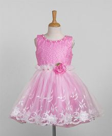 Eiora Party Wear Dress With Flower Applique - Pink & White