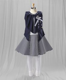 Eiora Striped Casual Dress - Navy & White