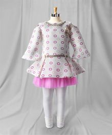 Eiora Party Wear Bell Sleeves Dress With Leggings - Pink & White