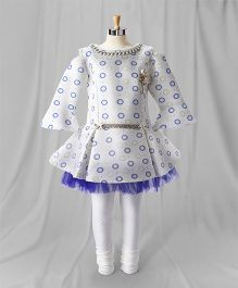 Eiora Party Wear Bell Sleeves Dress With Leggings - Blue & White