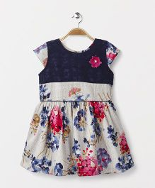 Enfance Core Floral Print Casual Dress - Navy & White