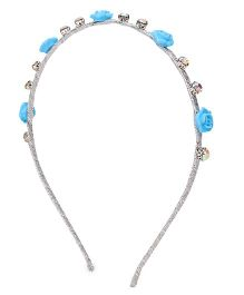 BOWTASTIC Flower & Beads Hairband - Blue