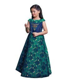 Betty By Tiny Kingdom Smart All over Print Gown - Green