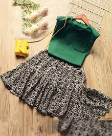 Pre Order - Wonderland Front Pocket Top & Printed Skirt - Green