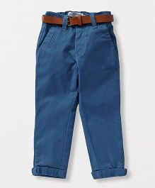 Vitamins Full Length Trouser With Belt - Blue