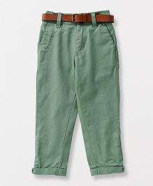 Vitamins Full Length Trouser With Belt - Green