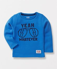 Vitamins Full Sleeves Tee Text Print - Blue