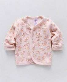 Pink Rabbit Full Sleeves Vest Kitty Print - Light Peach