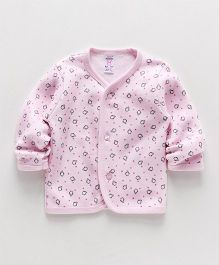 Pink Rabbit Full Sleeves Vest Penguin Print - Light Pink
