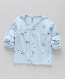 Pink Rabbit Full Sleeves Vest Bear Print - Light Blue