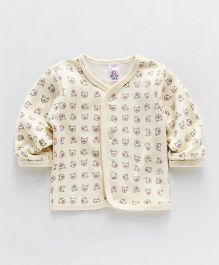 Pink Rabbit Full Sleeves Vest Bear Print - Yellow