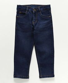Babyhug Full Length Stretchable Jeans With Adjustable Elasticated Waist - Navy Blue