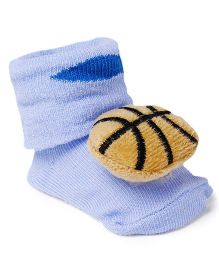 Cute Walk by Babyhug Baby Sock Shoes Basket Ball Applique - Sky Blue