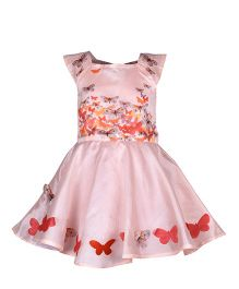 A Little Fable Cap Sleeves Party Wear Dress Butterfly Print - Red & Pink