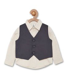 A Little Fable Full Sleeves Party Wear Shirt With Attached Waistcoat - Cream & Black
