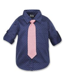A Little Fable Full Sleeves Shirt With Tie Dotted - Nave Blue & Pink