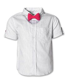 A Little Fable Half Sleeves Shirt With Bow Dotted - White & Pink