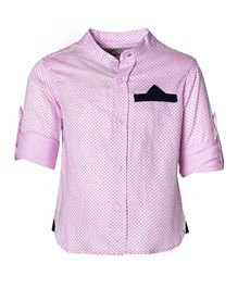 A Little Fable Half Sleeves Party Wear Shirt Printed - Pink