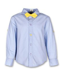 A Little Fable Full Sleeves Breeze Shirt With Bow - Blue