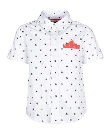 A Little Fable Half Sleeves Shirt Star Print - White