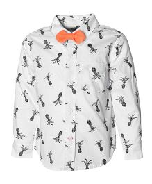 A Little Fable Full Sleeves Shirt With Bow Pineapple Print - White