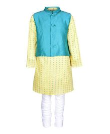 A Little Fable Full Sleeves Kurta Pajama With Jacket - Yellow
