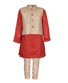 A Little Fable Full Sleeves Kurta Pajama With Jacket - Red Golden